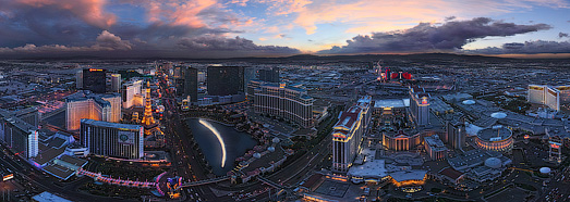 Luminous Las Vegas at Dusk and Night  - AirPano.com • 360 Degree Aerial Panorama • 3D Virtual Tours Around the World