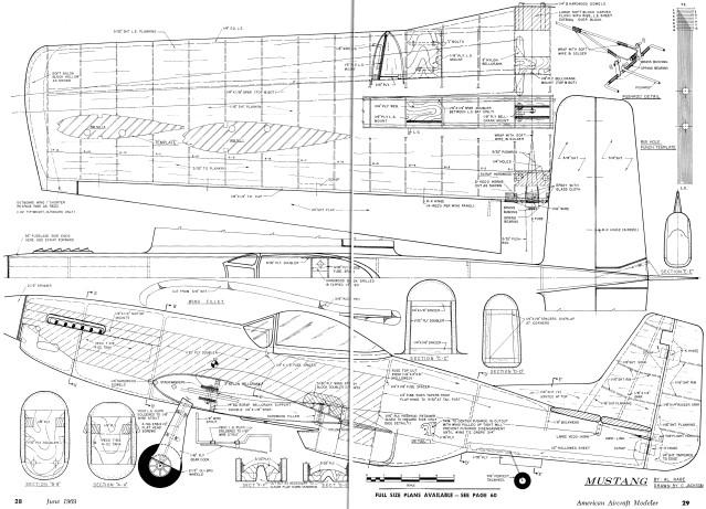 Mustang Plans, June 1969 American Aircraft Modeler