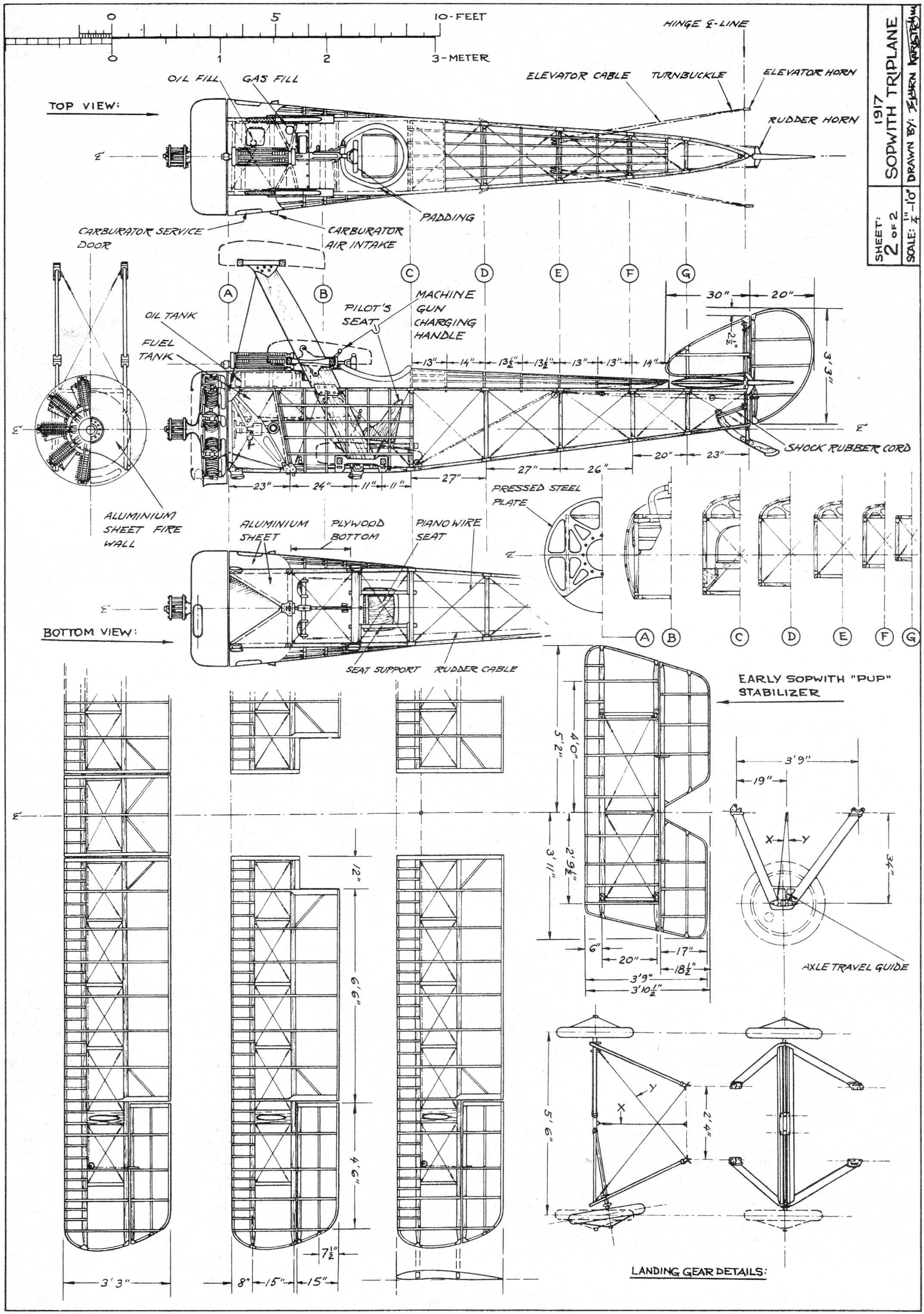 Sopwith Triplane Plans 4 View August American Aircraft Modeler