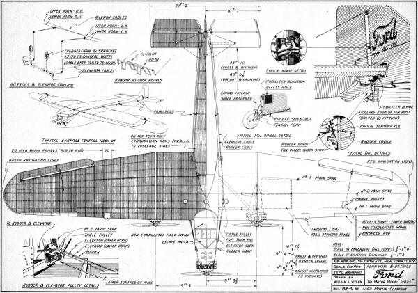 Ford Tri-Motor Model 5-AT-C Plans, May 1954 Model Airplane