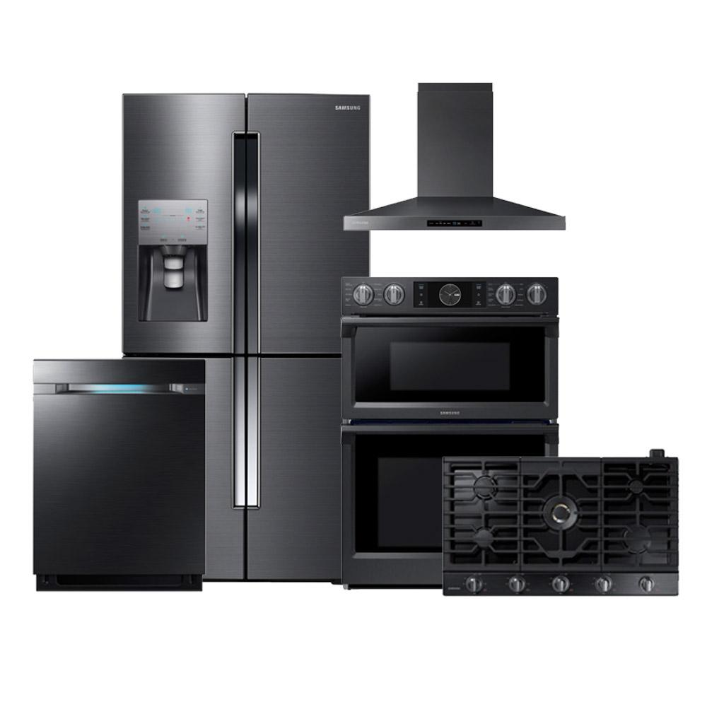kitchen package cabinets painted rf23j9011sg na36k7750tg nk36k7000wg nq70m7770dg dw80m9550ug samsung appliances 5 piece black stainless