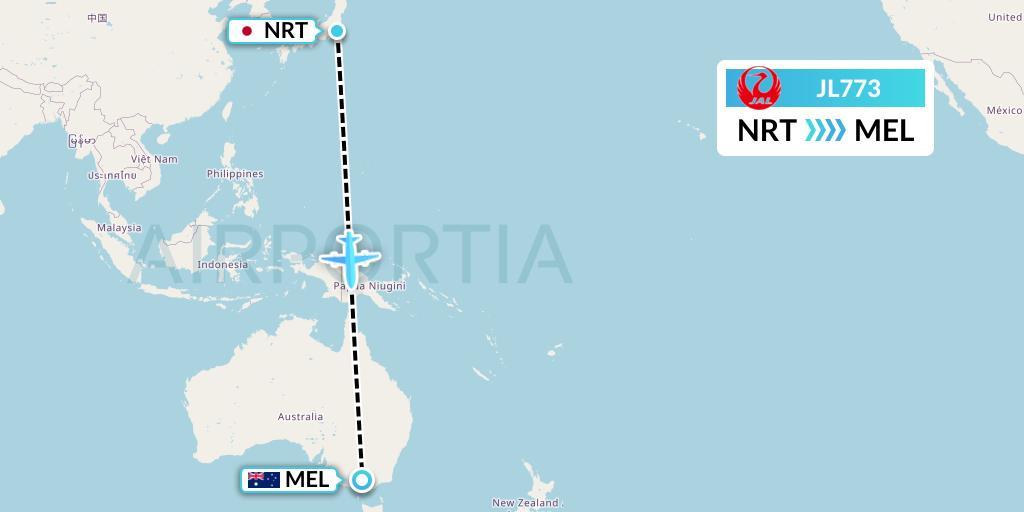 JL773 Flight Status Japan Airlines: Tokyo to Melbourne (JAL773)