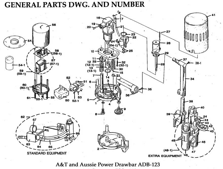 Air Power Draw Bar: AT-158 Power Drawbar Parts List + Drawing