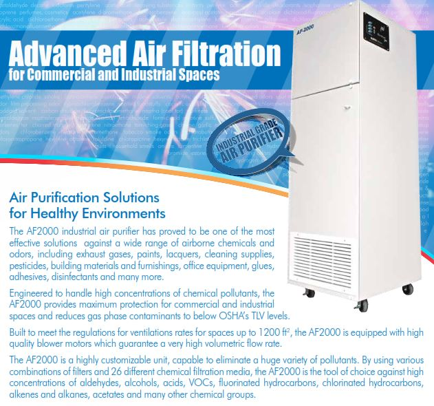 Effective solution to wide range of airborne chemicals and odors: exhaust gases,