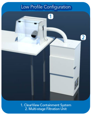 Downdraft Station Air Filtration System - Low profile, with ClearView Containment Hood