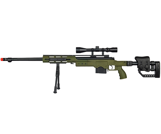WELL MB4411 Airsoft Sniper Rifle Green w/ Scope & Bipod