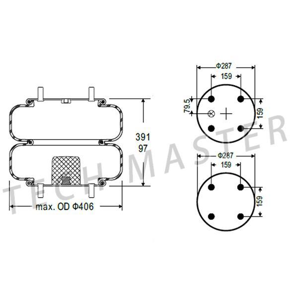 90557203 Industrial Air Springs For Trucks Firestone W01