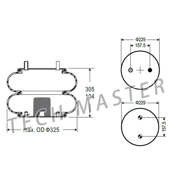 Double Air Spring Industrial Air Bags Firestone W01-358