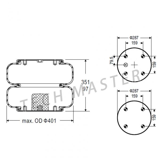Double Convoluted Trailer Spare Parts for Ridewell