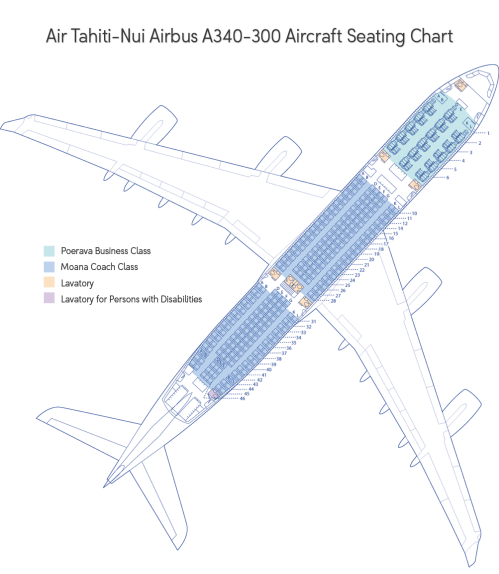 small resolution of large picture of the air tahiti nui aircraft seating map