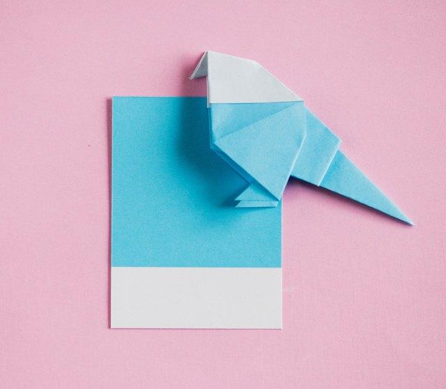 kağıt davetiye origami kuş