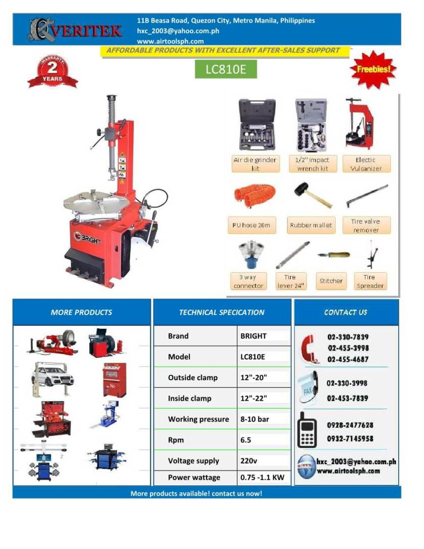 Bright tire changer, 3excel wheel aligner-henry import and export corporation -www.airtoolsph -car lifter, wheel aligner, tire changer, wheel balancer, brake lather, philippines (24)