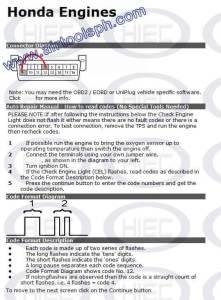 HONDA manual diagnostic jumper settings, www