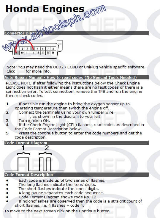 HONDA manual diagnostic jumper settings, www.airtoolsph.com, henry import and export corporation, veritek incorporaetd-Obd1 and obd 2 manual diagnostic-jumper settings-obd codes-