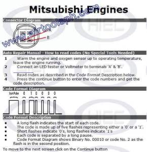 MITSUBISHI  3 PINS manual diagnostic jumper settings, www