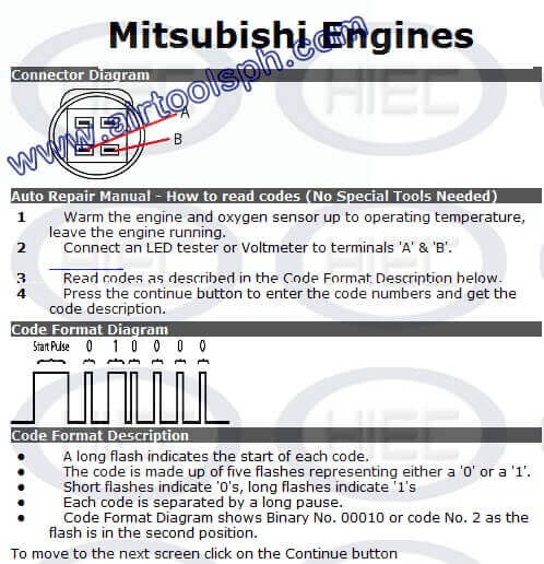 MITSUBISHI  3 PINS manual diagnostic jumper settings, www.airtoolsph.com, henry import and export corporation, veritek -Obd1 and obd 2 manual diagnostic-jumper settings-obd codes-