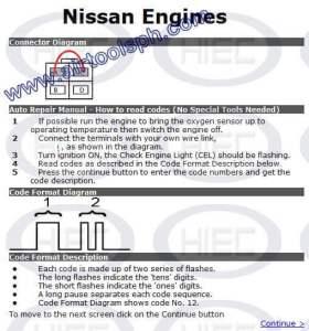 NISSAN 4 PINS manual diagnostic jumper settings, www