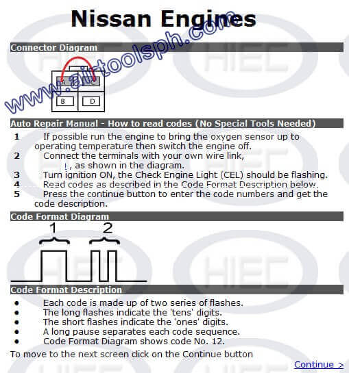 NISSAN 4 PINS manual diagnostic jumper settings, www.airtoolsph.com, henry import and export corporation, veritek incorporaetd--Obd1 and obd 2 manual diagnostic-jumper settings-obd codes-