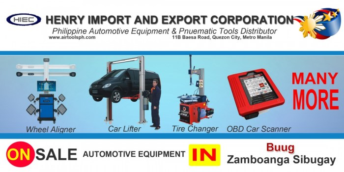 For sale Automotive Equipment and in Buug Zambonga Sibugay-Car lifter-tire changer-wheel aligner-scanner-engine-car