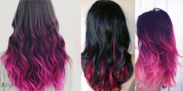 pink ombre on black hair | find your perfect hair style