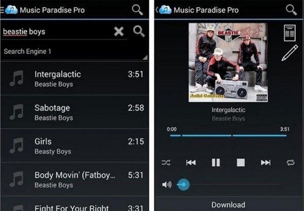 Aplikasi Android Music Paradise Pro.