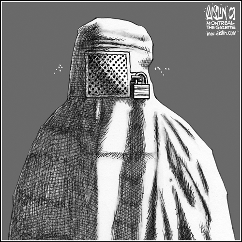 Aislin cartoon: woman in niqab with the face covering padlocked