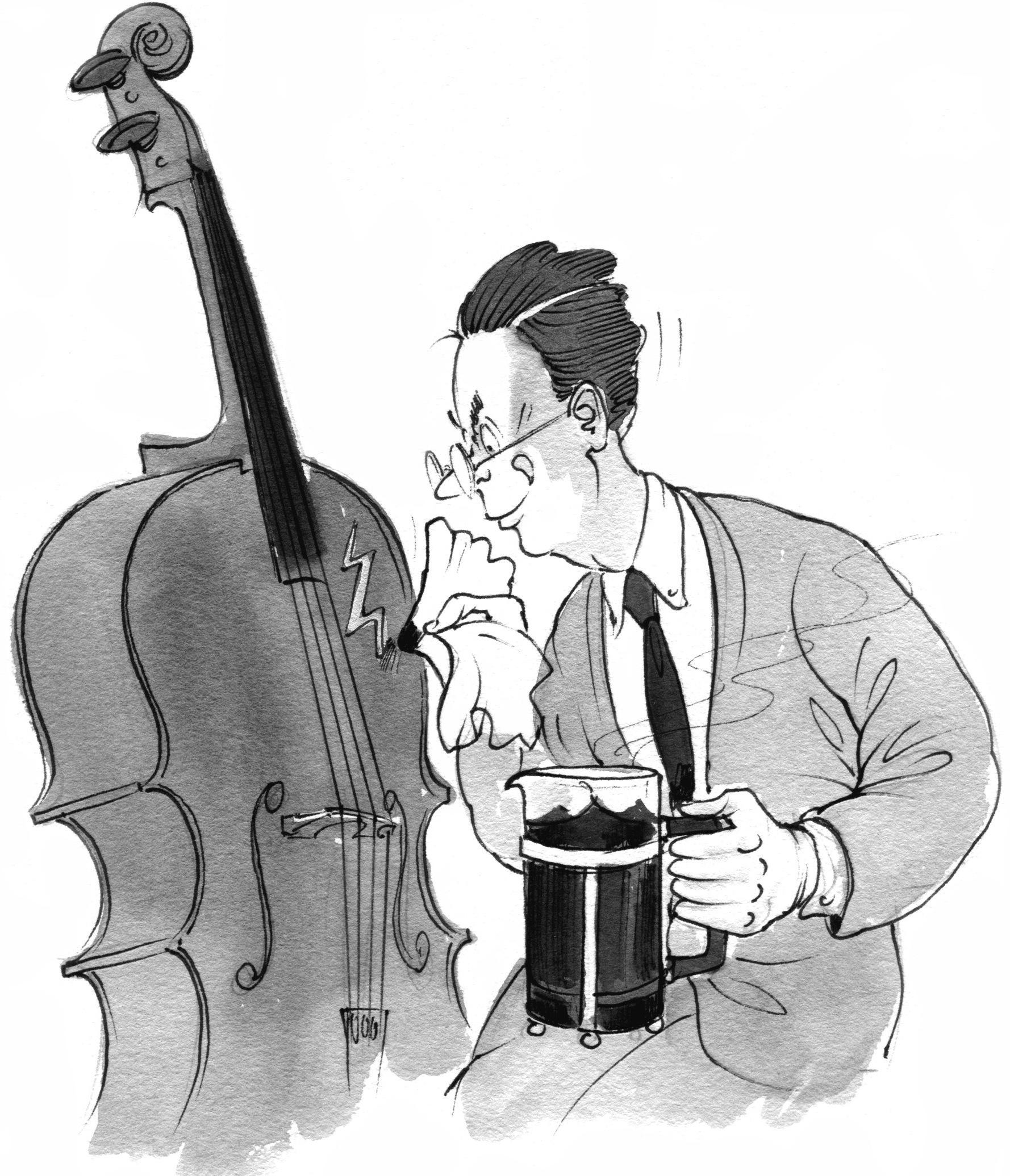 Cartoon of a man varnishing a cello from a coffee pot