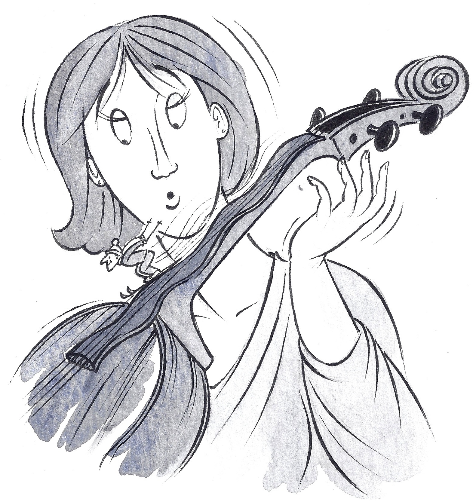 technical cello articles - Cartoon of worn and rippled fingerboard