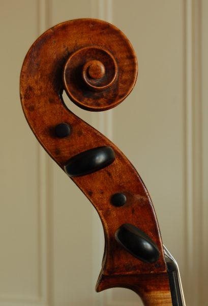 Later scroll on Carlo Antonio Testore cello