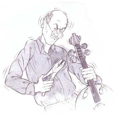 A cellist tries to remove pegs with pliers