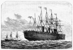 Atlantic telegraph cable being laid