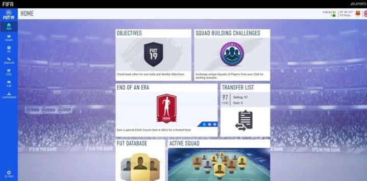 FIFA 19 Ultimate Team Web App