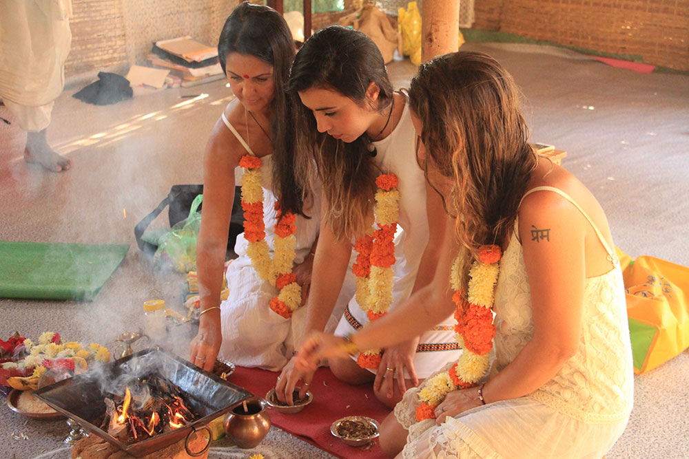 Aithein Ayurveda Massage School in Goa, India - Students participating in Fire Ceremony