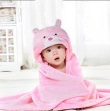 Coral Fleece Κουβέρτα με Κουκούλα (Τμχ) 75x100 Bear New Baby Palamaiki Pink