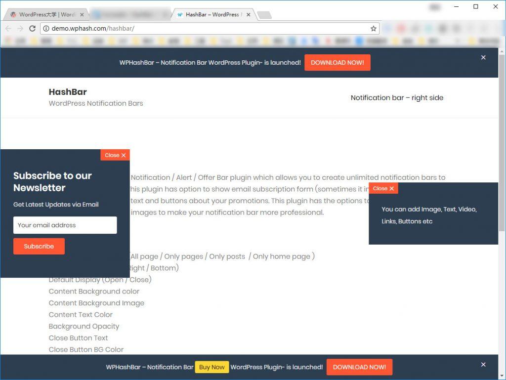 WordPress 公告/通知欄外掛程式 HashBar | 網頁設計教學
