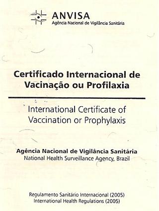 Certificado de vacina internacional
