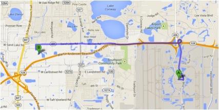 Mapa Aeroporto para Florida Mall