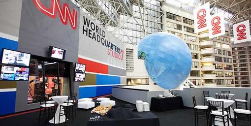 Detalhe do prédio da CNN em Atlanta. Imagem de divulgação do tour.
