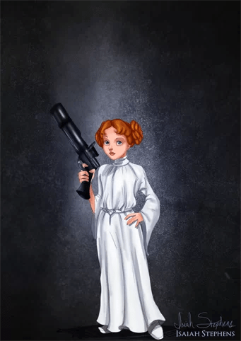 Wendy de Peter Pan como Princesa Lea de Guerra nas Estrelas