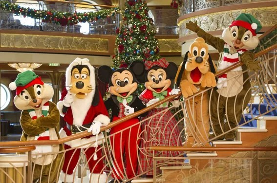 In the spirit of holiday cheer, Disney Cruise Line adds sparkle to each ship during Very Merrytime Cruises, with Disney characters dressed in festive attire, special stem-to-stern holiday events, traditional