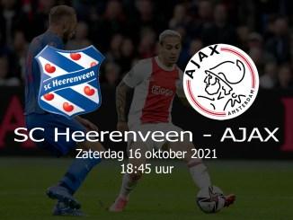 Aankondiging Heerenveen - Ajax 16 oktober 2021