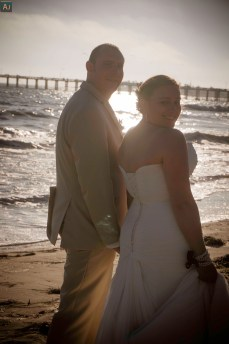 First walk on the beach as husband and wife