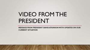 Message from President Atkinson on March 26