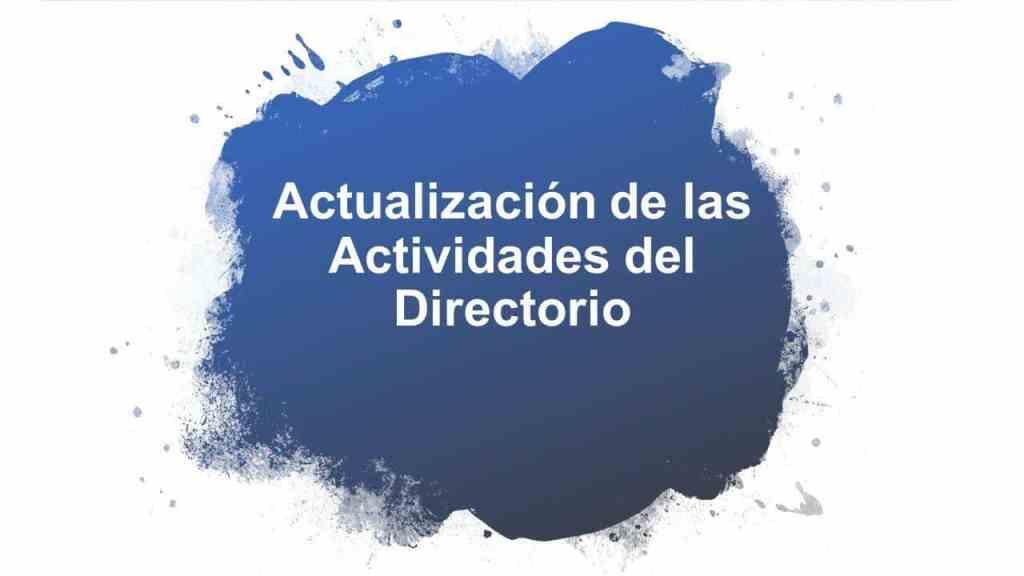 Actualización de las Actividades del Directorio