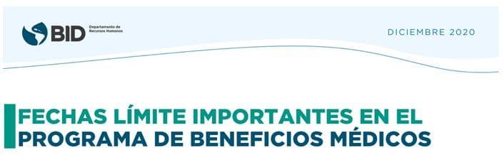 Fechas importantes en el Programa de Beneficios Médicos