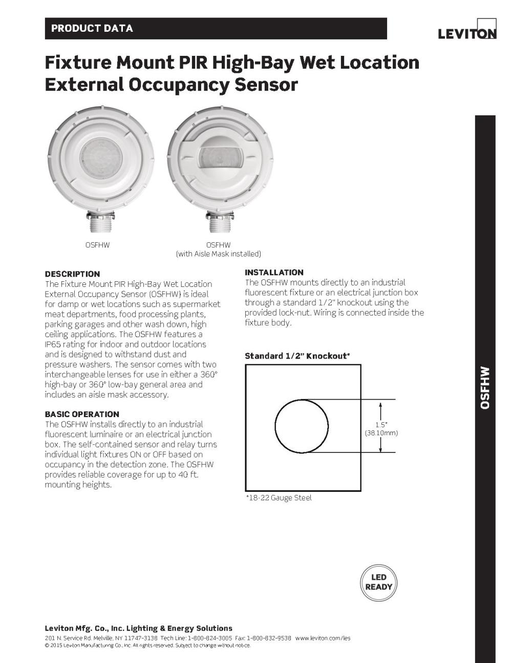 medium resolution of leviton osfhw wet location external high bay occupancy sensor