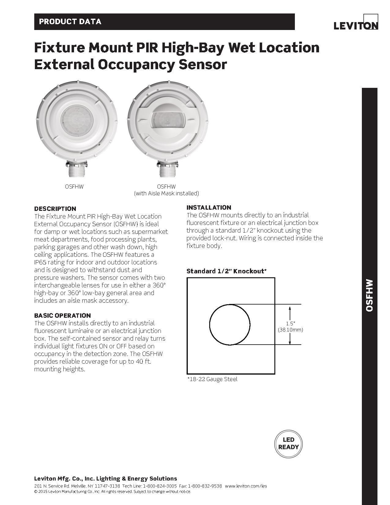 hight resolution of leviton osfhw wet location external high bay occupancy sensor