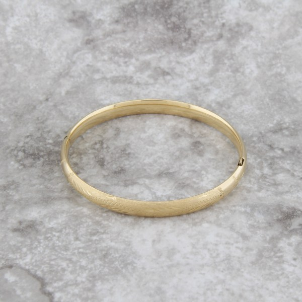 Vintage 14k Yellow Gold Child Baby Bangle Bracelet Engraved