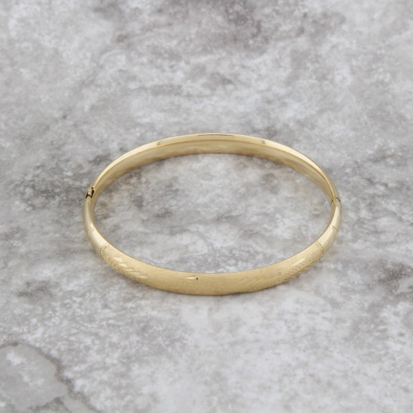 Vintage 14k Yellow Gold Child Baby Bangle Bracelet Engraved