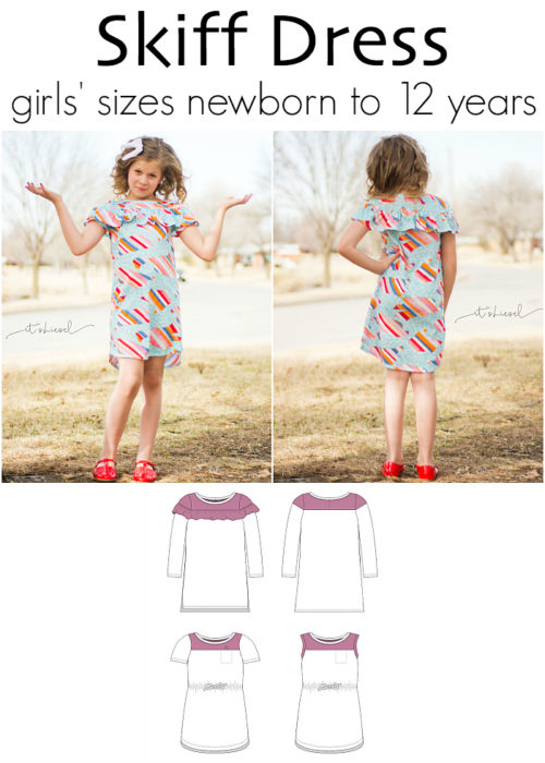 Skiff Dress Expansion by Jennuine Design. A-line bateau colorblocked dress for girls' sizes newborn to 12 years. Optional on-trend flounce and/or elasticated waist. Straight or curved hems.